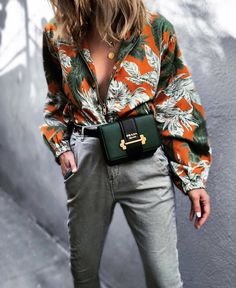 floral top with green prada fanny pack