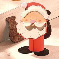 """Weihnachtsmann aus Moosgummi (Idee mit Anleitung – Klick auf """"Besuchen""""!) - Dieser drollige Weihnachtsmann will genau sehen, was auf den weihnachtlichen Teller kommt!"""