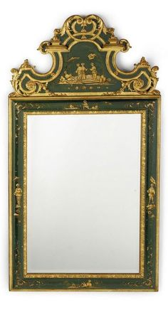 A Italian Rococo style chinoiserie lacquer and parcel-gilt mirror the shaped cresting and moulded border decorated with chinoiserie motifs with tones of gold on a green ground. height 62 in; width 33 1/4 in. 157.5 cm; 84.5 cm