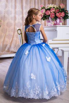 Blue Dresses For Girls Blue Flower Girl Dresses Royal Blue Little Girls Fancy Dresses, Wedding Dresses For Kids, Girls Blue Dress, Wedding Flower Girl Dresses, Royal Blue Dresses, Girls Dresses, Cinderella Dress For Girls, Disney Princess Dresses, Girls Party Outfits