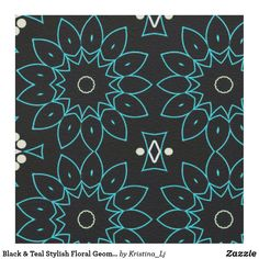 Black & Teal Stylish Floral Geometric Pattern Fabric Bohemian Fabric, Pattern Fabric, Custom Fabric, Crafts To Make, Accent Decor, Printing On Fabric, Teal, Diy Projects, Kids Rugs