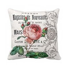 Pillow Cover Pink Garden Rose Cotton and Burlap by JolieMarche, $35.00