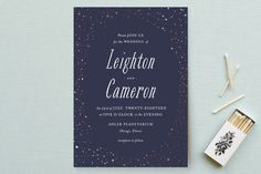 """""""Starlight"""" - Whimsical & Funny, Funny Wedding Invitations in Blue Violet by Snow and Ivy."""
