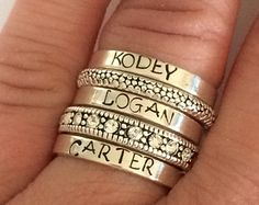 Custom ring Sterling silver stacking ring personalized por smmade