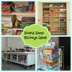 Board Game Storage ideas from Homey Home Design Board Game Organization, Board Game Storage, Home Organization, Board Games, Organization Ideas, Organizing Tips, Cleaning Tips, Game Room Design, Family Room Design