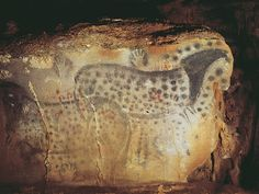 Spotted horses and negative hand imprints, wall painting in the cave at Pech-Merle, Lot, France, ca. 22,000 B.C. Approx 11' 2'' long.