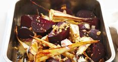 A great side dish of roasted beetroot, sweet parsnips and crunchy walnuts.