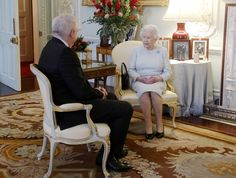 Queen Elizabeth II meets the First Minister of Wales Carwyn Jones during a private audience at Buckingham Palace on December 8, 2016 in London, United Kingdom.