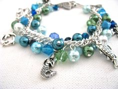 Beach Bling Bracelet Aqua and Green Faux Pearls, Austrian Crystal and Silver Sea Creature Fish Hook Charm Bracelet
