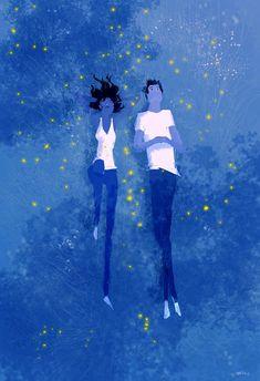 Blue Grass and Fireflies by PascalCampion.deviantart.com on @DeviantArt