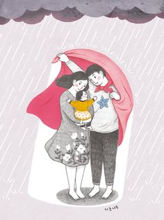 Art Drawings For Kids, Art Drawings Sketches, Cute Drawings, Family Illustration, Cute Illustration, Family Drawing, Pottery Painting Designs, Mother Art, Cute Couple Art