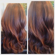 Fall hair babylights brunette Balayage with chestnut and copper hues mahogany violet undertones long layers colormelt tortoise shell hair color ecaille
