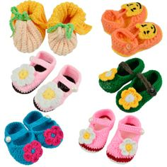 Infant Handmade Crochet Flower Knitting Wool Soft Shoes