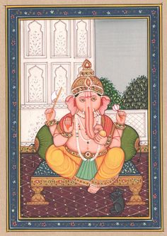 Handmade Indian God Ganesha Old Paper Painting Ethnic Miniature Art | eBay