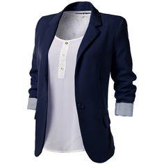 J.TOMSON Womens Boyfriend Blazer (€15) ❤ liked on Polyvore featuring outerwear, jackets, blazers, tops, shirts, blue blazers, blue jackets, boyfriend jacket, blue boyfriend blazer and boyfriend blazer jacket