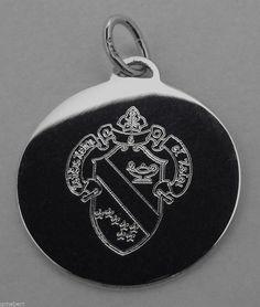 Alpha Phi, ΑΦ, Sorority Round Engraved Crest Silver Charm