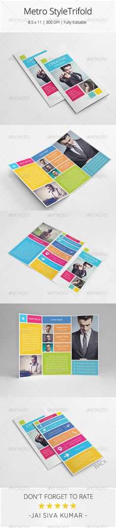 $8 PSD Metro Style Trifold Brochure - Informational Brochures