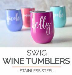 Swig Wine Tumbler Bridesmaid Gift - Bachelorette Gift -Custom Personalized Monogrammed Tumbler With Lid