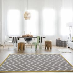 Modern Moroccan Trellis Rug For Living RoomSoft Non Shed Shaggy Geometric Rugs Living Room Area Rugs, Room Rugs, My Living Room, Kitchen Living, Yellow Chevron Rugs, Yellow Rug, Trellis Rug, Trellis Pattern, Patchwork Rugs