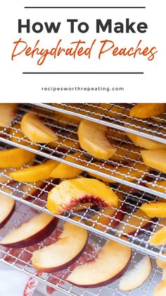 Drying peaches is so easy! If you like dried fruits then you need to try dehydrated peaches. They are a healthand nutritious snack that will last for up to 6 months! Not only are they delicious on their own, but also taste amazing in trail mix, granola bars, and when making jellies and jams! #dehydratedpeaches #driedpeaches #dehydratedfruit #driedfruit #driedpeachslices | recipeswortthrepeating.com Brunch Recipes, Summer Recipes, Sweet Recipes, Easy Recipes, Breakfast Recipes, Vegan Recipes, Dessert Recipes, Nutritious Snacks, Healthy Snacks