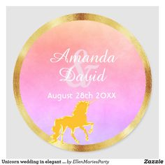 Unicorn wedding in elegant faux gold violet pink classic round sticker