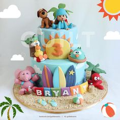 Pocoyo's Beach Holiday - Cake by guiltdesserts