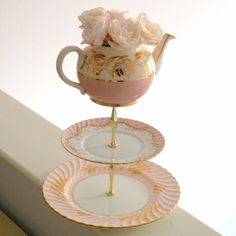 Alice Paints Her Room 3 Tier Cupcake Stand in Pink and Gold Vintage China with Teapot For Alice in Wonderland Weddings or Afternoon Tea Centerpiece Display