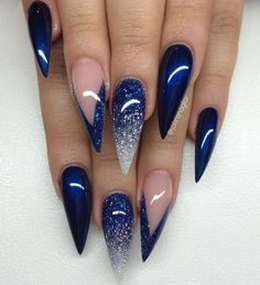 The Best Stiletto Nails DesignsStiletto nail art designs are called claw or claw nails. These ultra-pointy nails square measure cool and horny however they'll not be for everybody. As there's a much bigger surface, sticker nails permit United States Blue Gel Nails, Navy Nails, Blue Acrylic Nails, Acrylic Nail Art, Nail Art Blue, Dark Blue Nails, Blue Ombre Nails, Blue Glitter Nails, Glitter Manicure