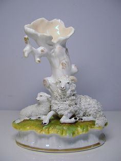 Staffordshire porcelain spill vase figure, Dudson sheep