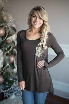 Sparkle Pocket Top ~ Brown – The Pulse Boutique