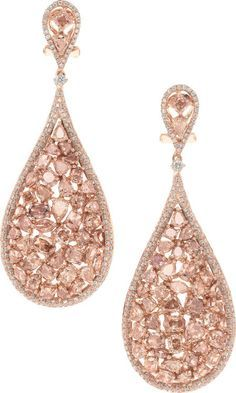 Pink Diamond and Rose Gold Earrings.  full cut, pear, marquise, oval, and cushion shaped diamonds ranging in color from fancy light pink, fancy brownish pink to fancy purplish pink,  in 18k pink gold