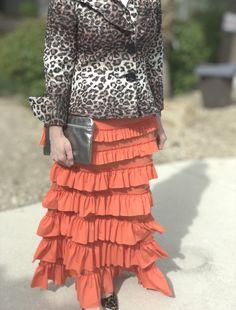 Coral Ruffle Eleganza Skirt #modestclothing #longskirt #modestfashion