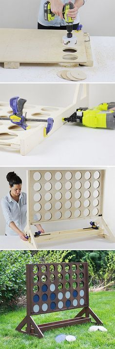 Connect Four! Build a giant backyard four in a row game!