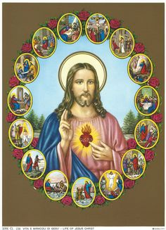 """Sacred Heart of Jesus with Scenes from His life Religious Art Print Picture - 7 1/2"""" x 10"""" ready to frame!"""