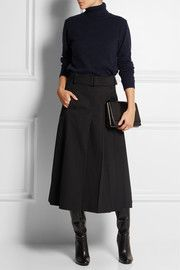 This could be my fall/winter uniform! Love a turtleneck & midi skirt with boots. Monochrome works with my petite stature. Would be better in grey, brown, or olive.