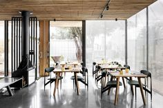 2019 Eat Drink Design Awards: Best Hotel Design   ArchitectureAU Double Sided Fireplace, Holiday Apartments, Cool Cafe, Hotel Interiors, Luxury Accommodation, Cafe Design, Lounge Areas, Retail Design, Restaurant Design