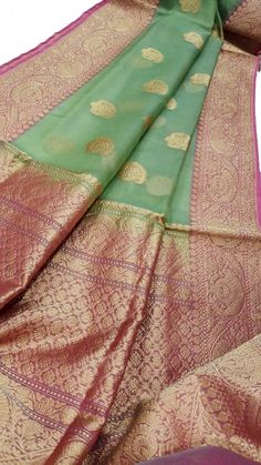 Discover thousands of images about Green Handloom Banarasi Kora Silk Saree Silk Saree Banarasi, Kora Silk Sarees, Kanchipuram Saree, Sari Silk, Bridal Silk Saree, Organza Saree, Green Saree, Blue Saree, Cotton Saree Designs