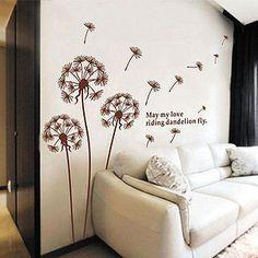 Wind dandelion wall stickers - living room, bedroom, TV background. $18.90, via Etsy.