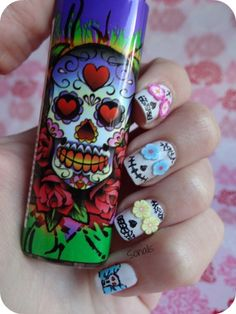 ✝☮✿★ HALLOWEEN SUGAR SKULL NAILS ✝☯★☮