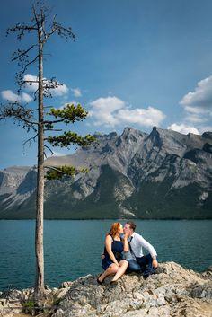 Banff Engagement Portrait session, Engagement photos at Minnewanka Lake, Banff wedding Photographer, www.kimpayantphotographer.com