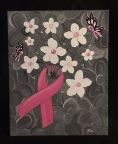 Breast Cancer Awareness Bouquet 16x20 acrylic on by FiteStudio