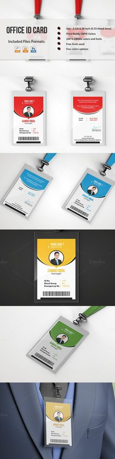 Office ID Card Template. Creative Card Templates. $4.00