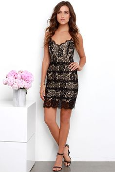 Lace of Base Beige and Black Lace Bodycon Dress at Lulus.com!