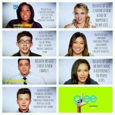 Because of Glee! I love glee and would personally like to thank the cast and everyone who makes it possible because without glee I don't know what I would do.