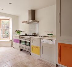 Our kitchens can be handpainted in any colour you choose. Here, our client has chosen to include multiple coloured panels which have been expertly painted by our furniture painters.