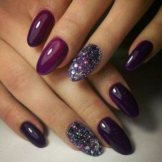 Image result for purple AND GLITTER ring finger ROUNDED NAILS