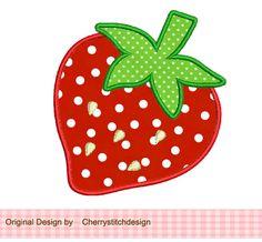 Strawberry Applique -4x4 5x7-Machine Embroidery Applique Design. $2.99, via Etsy.