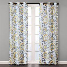 """Prado Window Curtain Pair Yellow Multi 84"""" Panel"""