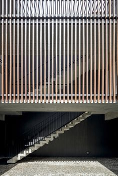 Gallery of Building 1232 / Arquea Arquitetos | Stright Stair | Concrete Stair | Vertical Fixed Wood Brise Soleil |