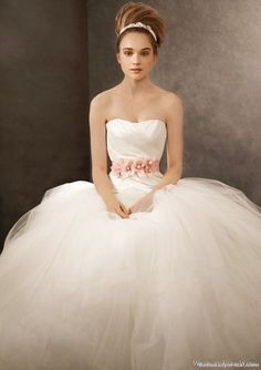 White by Vera Wang for David's Bridal Strapless taffeta gown with asymmetrically draped bodice, scooped neckline and full ball gown tulle skirt. Designed with 100 yards of tulle, this gown represents the classic Vera Wang aesthetic. Davids Bridal, White Wedding Dresses, Wedding Dress Styles, White Weddings, Bridal Gowns, Wedding Gowns, Tulle Wedding, Spring Wedding, Wedding Bride